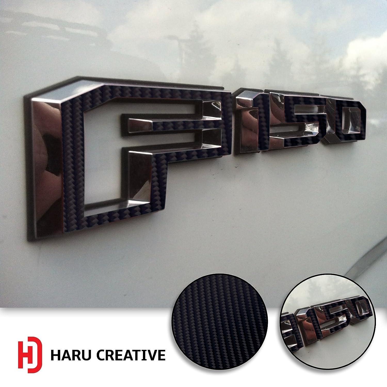 Haru Creative - 4D Carbon Fiber Black Loyo Fender Side Door Emblem Letter Overlay Vinyl Decal Compatible Fits Ford F150 F-150 2015 2016 2017 2018