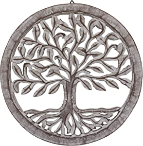 DharmaObjects Handcrafted Wooden Tree of Life Wall Decor Hanging Art (White)