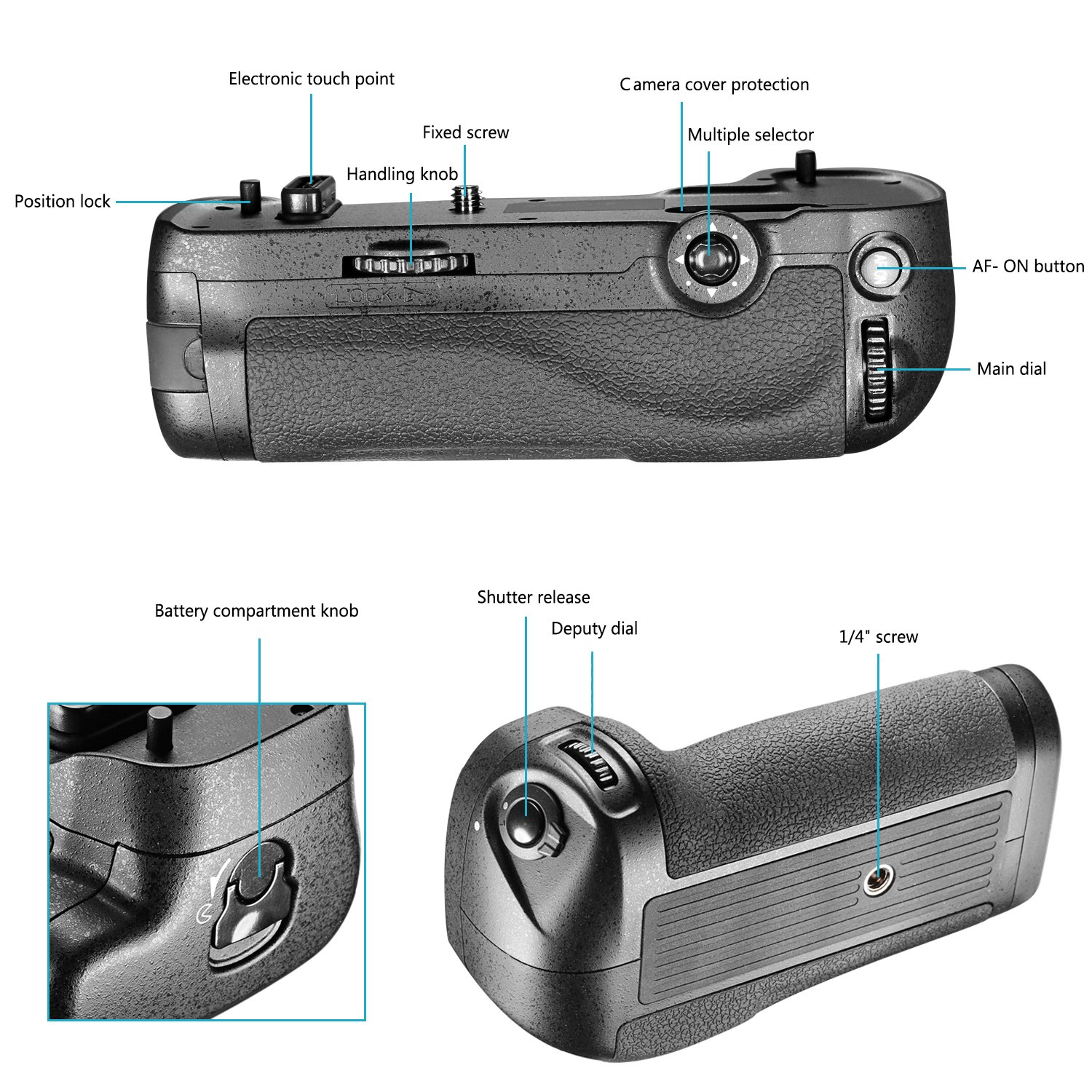 Neewer Battery Grip Work with 1 Piece EN-EL15 Battery or 8 Pieces A A Batteries for Nikon D500 Camera MB-D17 Replacement