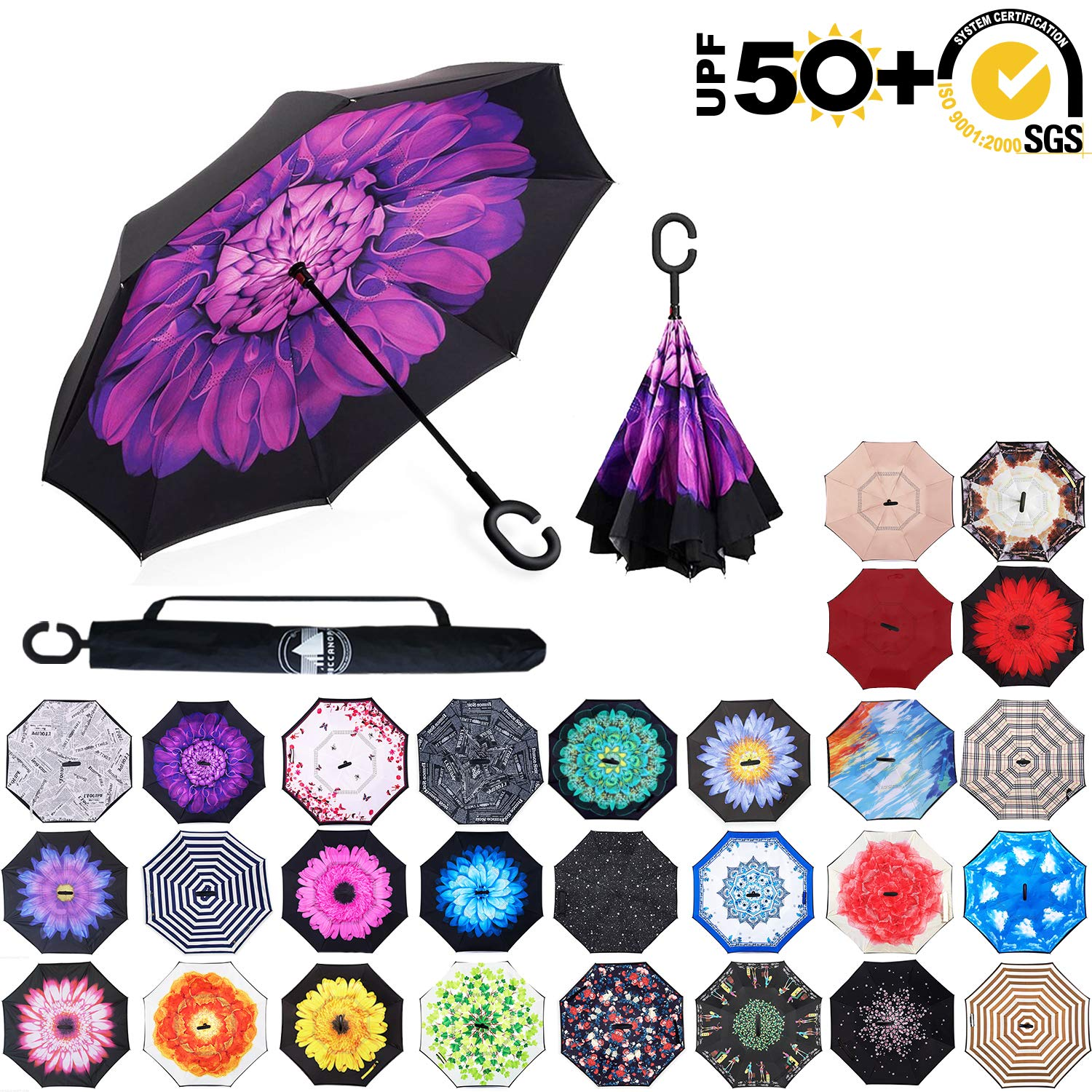 ABCCANOPY Inverted Umbrella,Double Layer Reverse Rain&Wind Teflon Repellent Umbrella for Car and Outdoor Use, Windproof UPF 50+ Big Straight Umbrella with C-Shaped Handle, Violet Flower by ABCCANOPY