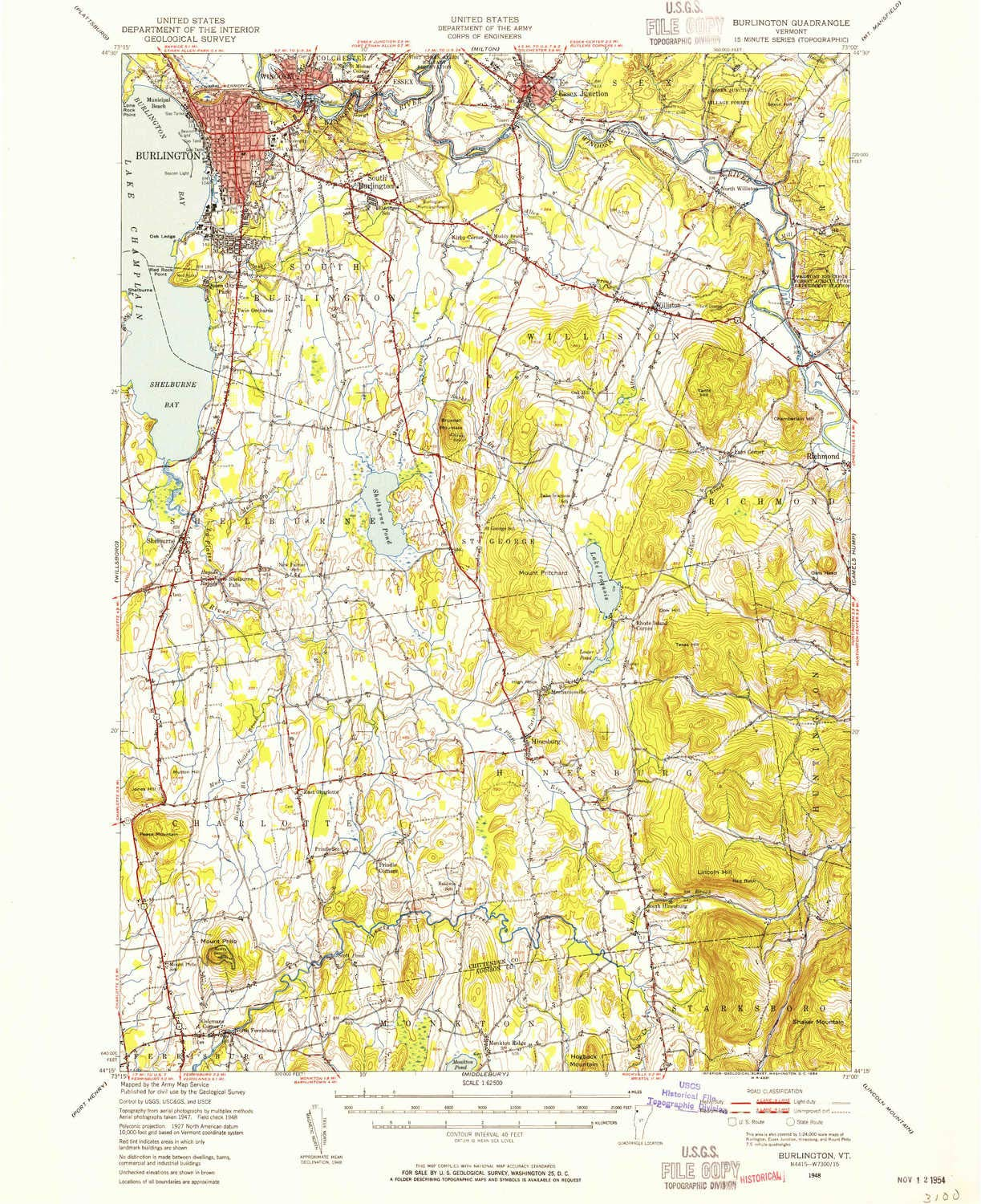 Amazon.com : YellowMaps Burlington VT topo map, 1:62500 Scale, 15 X ...