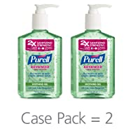 PURELL Advanced Hand Sanitizer Soothing Gel, Fresh Scent, with Aloe and Vitamin E- 8 fl oz Pump Bottle (Pack of 2) - 9674-06-EC2PK