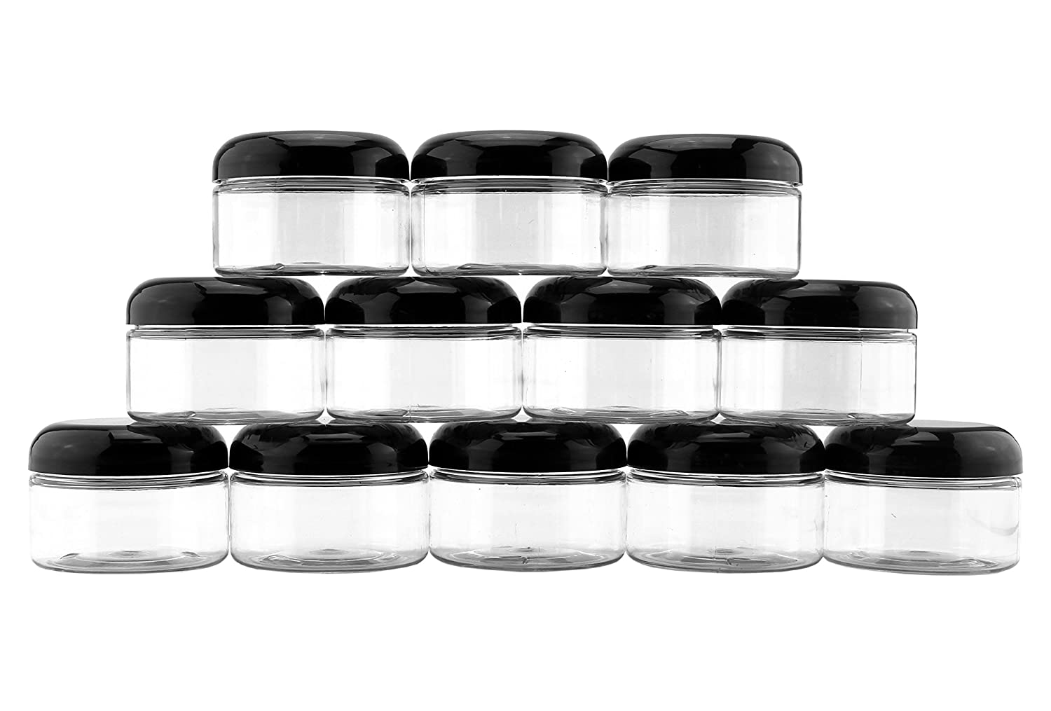 4-Ounce Clear Plastic Jars 12-Pack Jars w Black Domed Lids for Cosmetics, Kitchen Spices, Crafts Office
