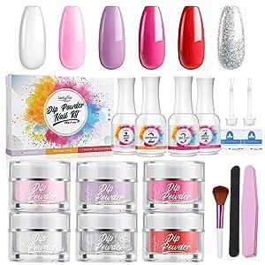 Dip Powder Nail Set - Luckyfine 6 Colors Dipping Powder Nail Starter Kit for French Nail Manicure Nail Art, Quick Do Nail at Home - No Nail UV/LED Lamp Needed