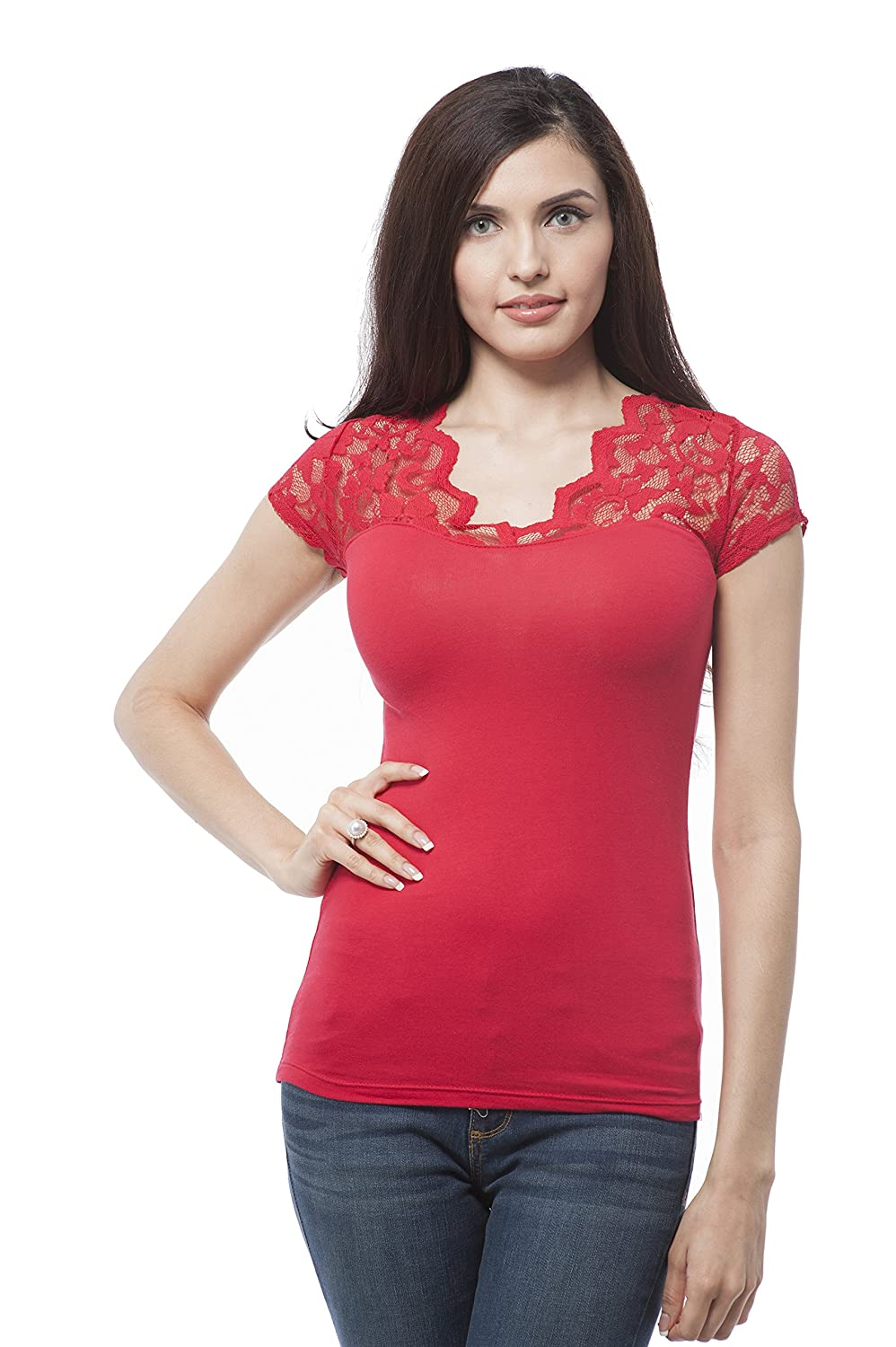 v neck short sleeve with lace insert on sleeve Red)