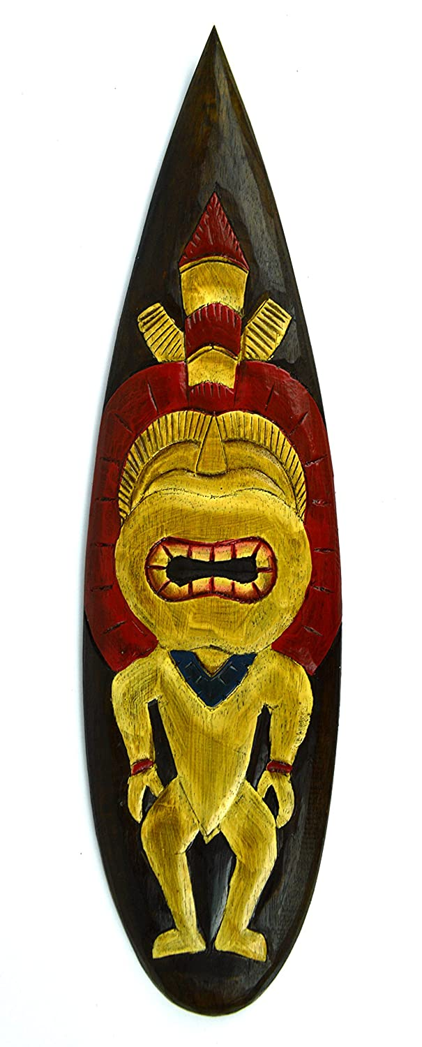 Amazon.com: Hand Carved TRIBAL TIKI HEAD Surfboard Wooden Wall ...