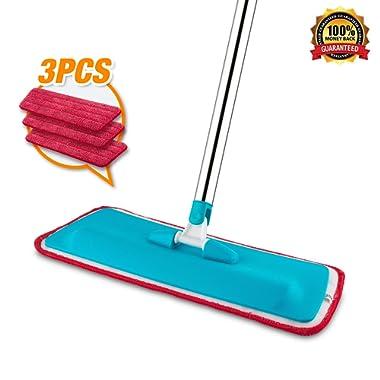 Mop, Microfiber Floor Mop + 3 Reusable Flat Mop Pads for Wet or Dry Floor Cleaning