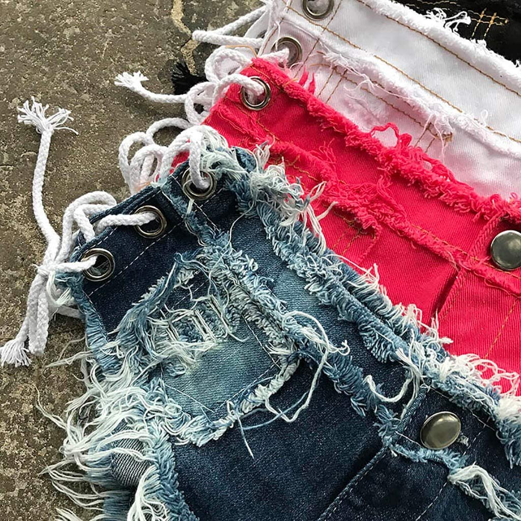 Mini Shorts for Women Cut Off Low Waist Side Straps Cheeky Mini Denim Jeans Hot Pants