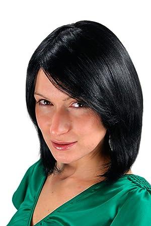 Wig Me Up Perruque Crêpée Carré Plongeant Noir Avec Raie