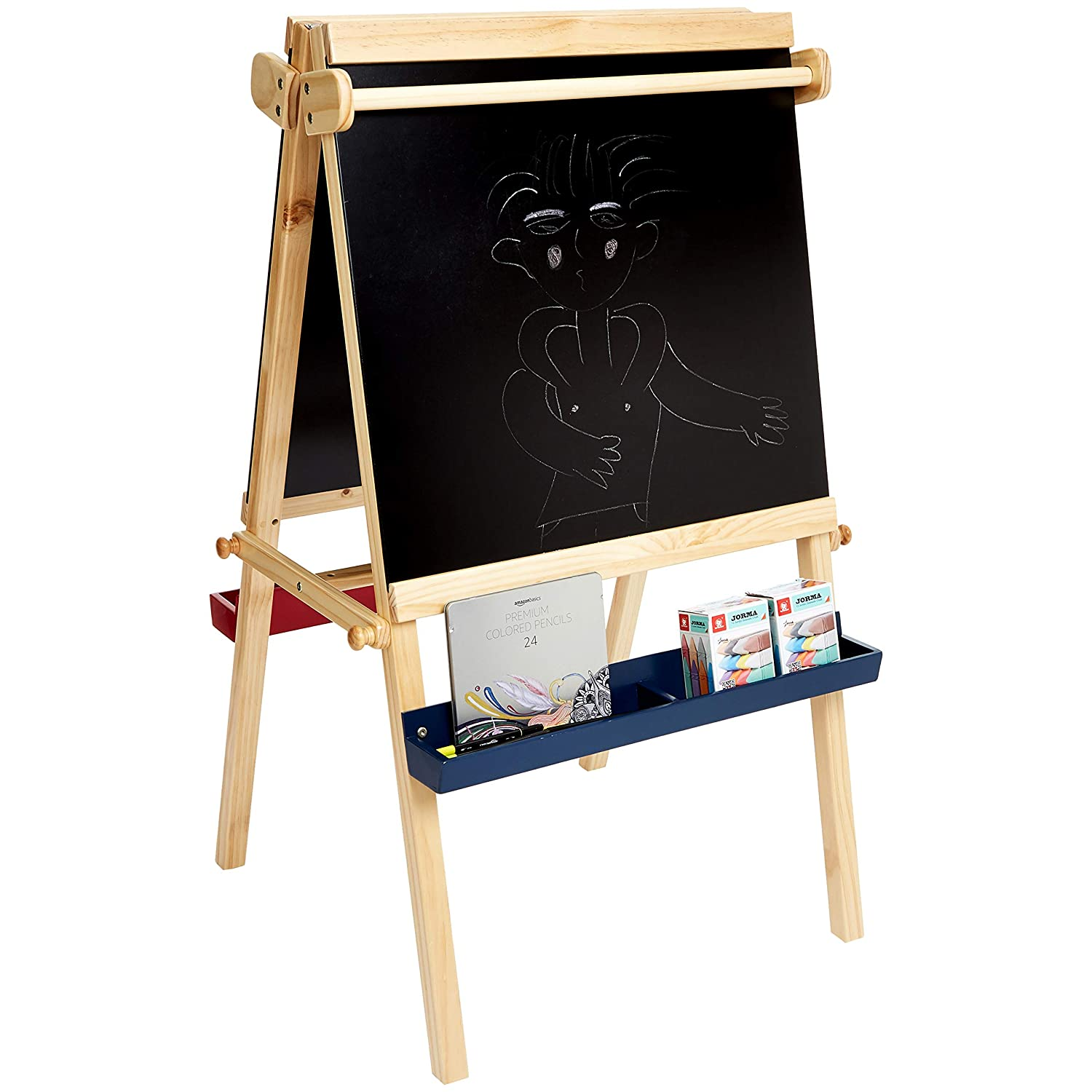 Chalkboard Children/'s Kid Art Activity Easel Pencil Dry Erase Board Paper Tray