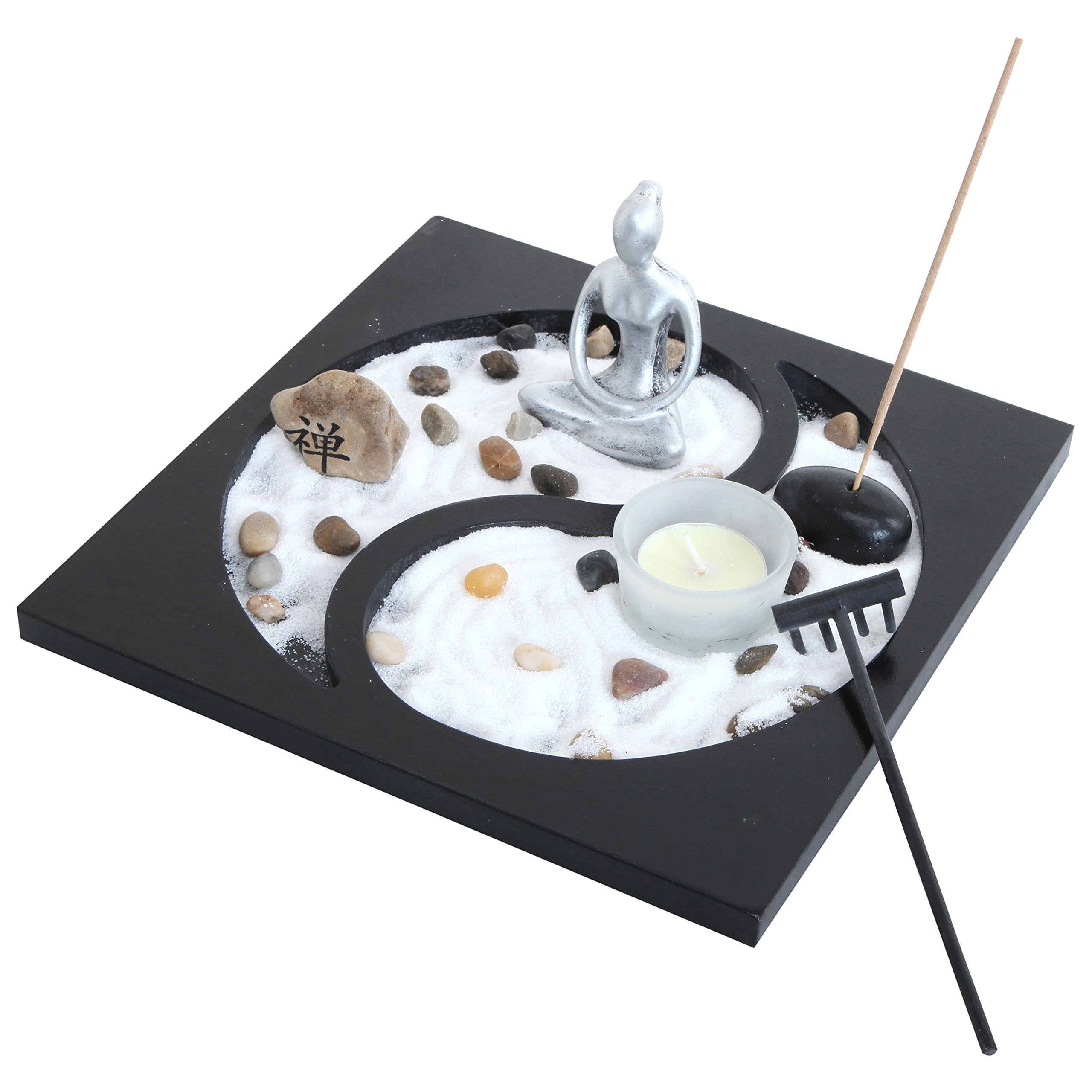 Zen Sand Rocks Candle Holder Taiji Yin Yang Tabletop Rake Garden Kit Incense Burner Gift