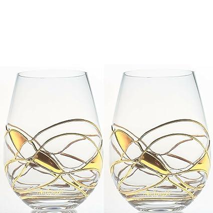 ANTONI BARCELONA Vaso de Vino - SET 2 - de cristal pintado y soplado a mano
