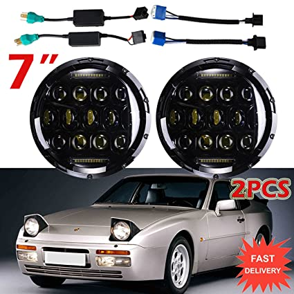 Amazon.com: 7 Inch For Porsche 944 LED Round Headlights Hi/Lo Double Beam DRL Driving Lamp Replacement 75W 6000K H5024 5024 6012 6014 6015 H6017 H6024 2PCS: ...
