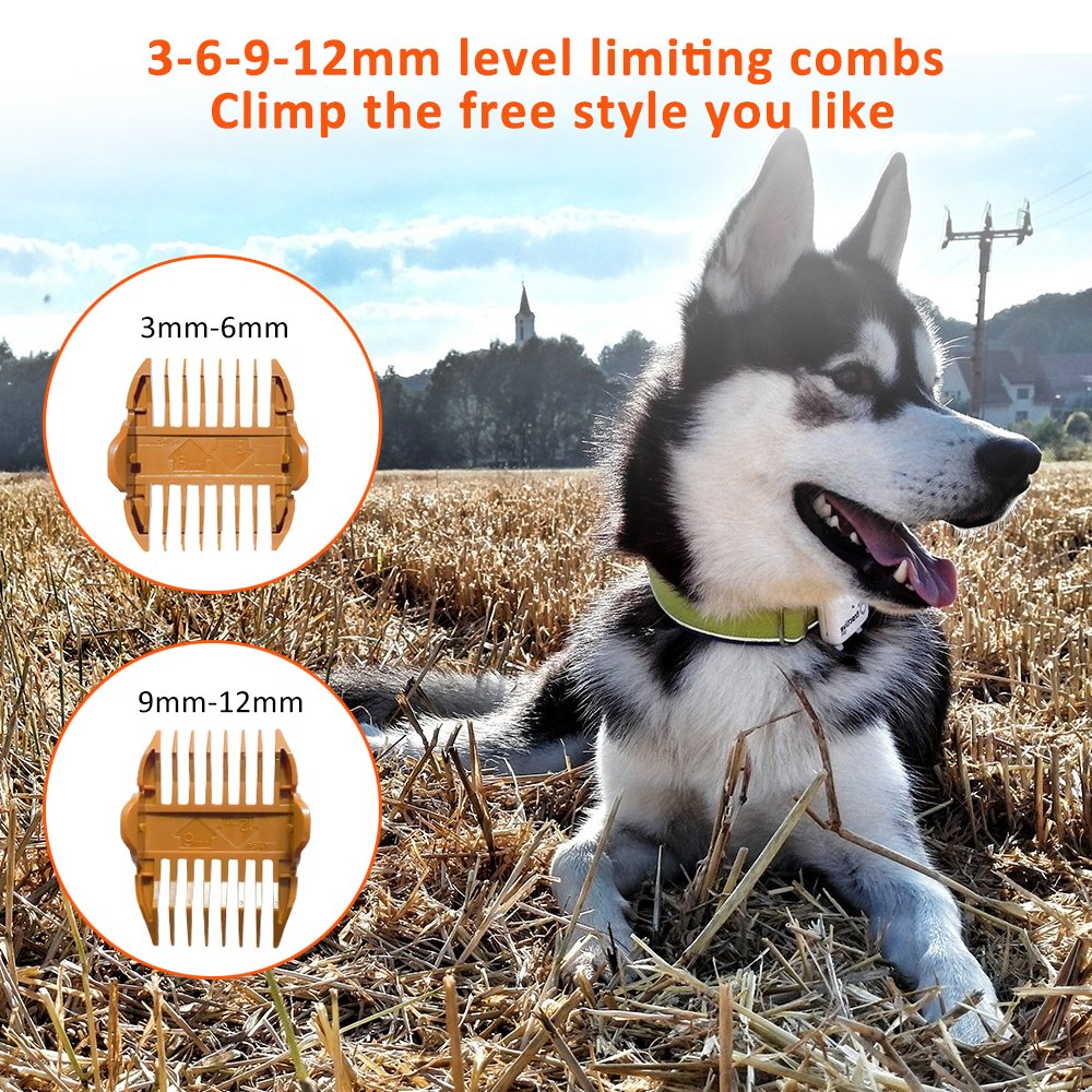 Bovon Professional Dog Clippers - Low Noise Pet Hair Clippers Cordless Dog Trimmer Pet Grooming Tools with Stainless Steel, 2 Comb Guides for Small/Large Dogs, Cats, Horse and Other Animals (White) by Bovon (Image #7)