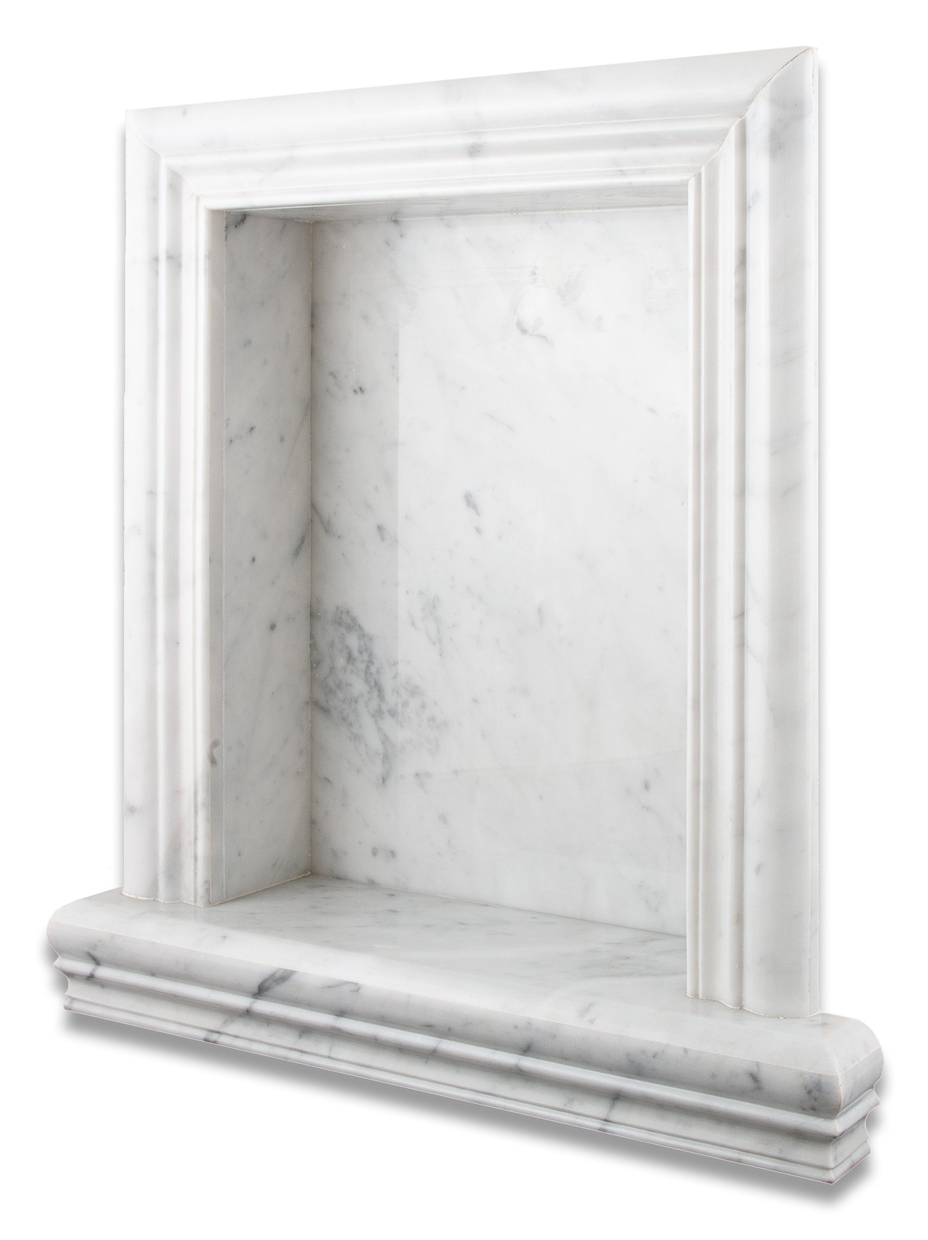 Italian Carrara White Marble Hand-Made Polished Shampoo Niche / Shelf - LARGE