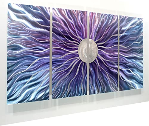 Large Blue, Purple, and Silver Metal Wall Art Painting – Panel Art, Wall Decor, Wall Sculpture – Modern, Abstract Wall Painting – Royal Static Blush By Jon Allen