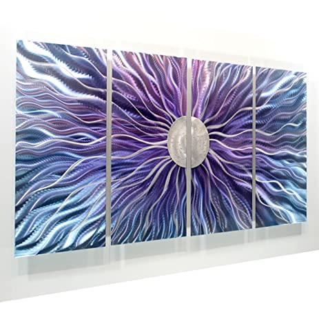 Large blue purple and silver metal wall art painting panel art wall
