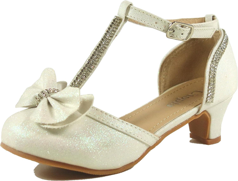 Walofou Toddler//Little Kid//Big Kid Low Heel Dress Rhinestone Sandals