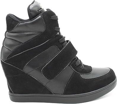 Baskets Compensées Femmes Montantes Chaussure Sneakers Bimatière De Ville Talon Haut Tennis Casual en Daim Scratch Lacet Imitation Suède Chic