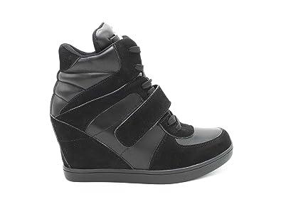 dea5c22d31e Baskets Compensées Femmes Montantes – Chaussure Sneakers Bimatière De Ville  Talon Haut - Tennis Casuel en