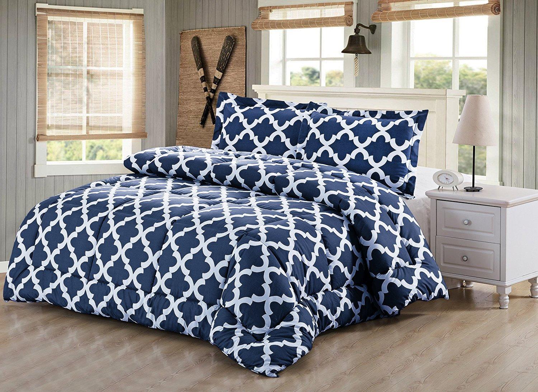 Printed Comforter Set Queen, Navy