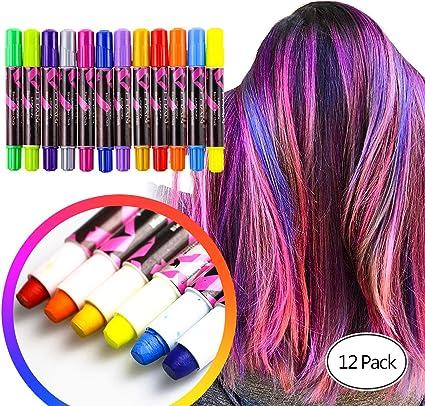UNEEDE Bolígrafos para Tiza para Cabello Juego de Tiza para Cabello en Colores Pastel Temporal Color Tinte para el Cabello 12 Tiza Metálico No Tóxico ...