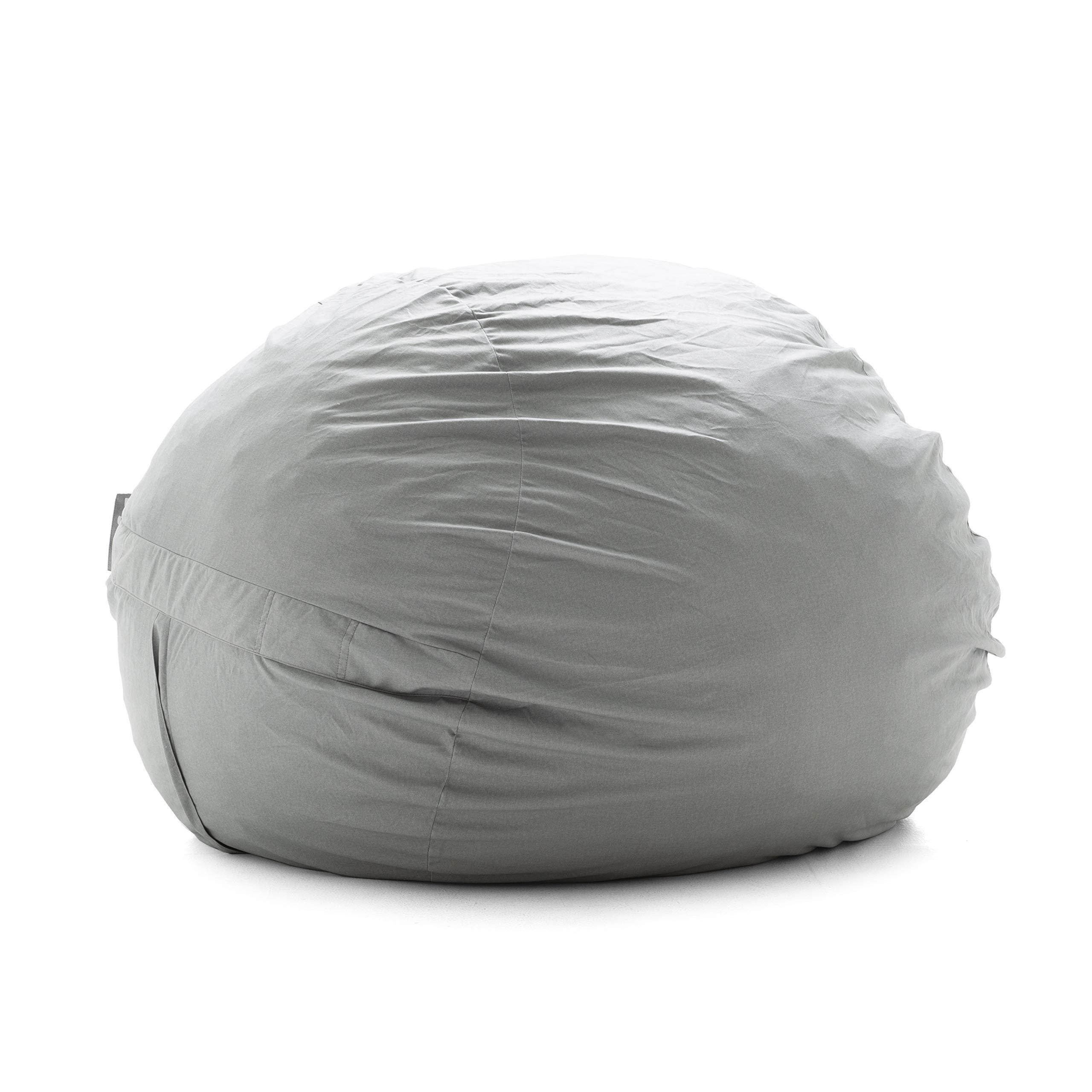 Big Joe 0006658L Super Fuf with Removeable and Washable Cover, Fog Lenox Shredded Foam Bean Bag Fog Gray Fog Gray