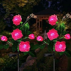 Fuzaws Solar Lights Outdoor Rose Flower, 2 Pack Solar Powered Garden Decorations with 10 Bigger Rose Flower, WaterproofLights for Garden Patio Yard Pathway Decoration (Pink Rose)