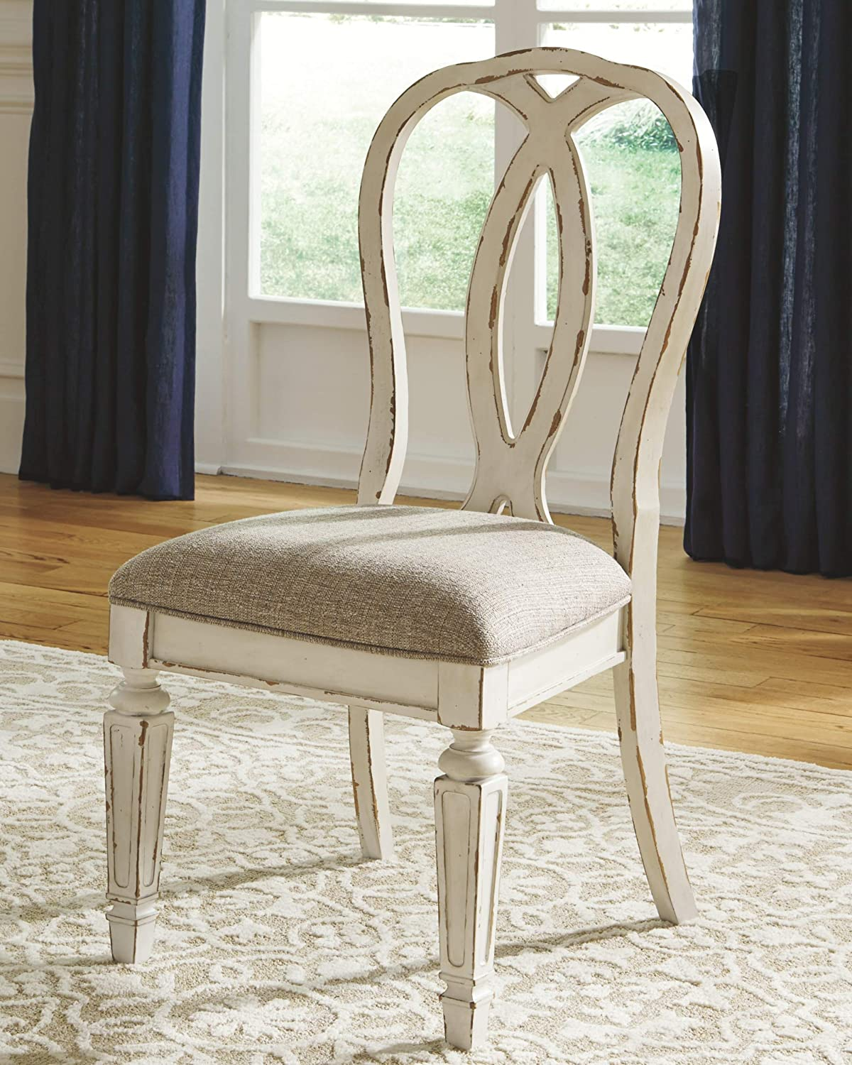 Signature Design By Ashley – Realyn Dining Upholstered Side Chair – Set of 2 – Casual Style – Chipped White