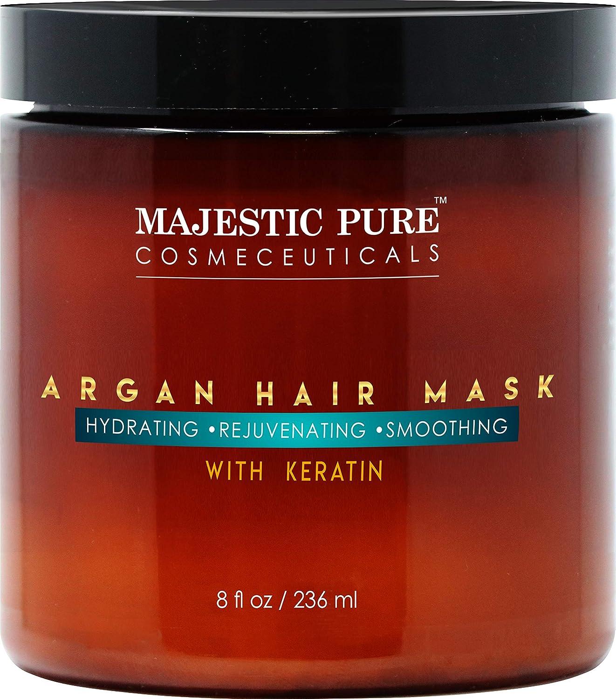 MAJESTIC PURE Argan Hair Mask with Keratin - Rejuvenating, Hydrating, Smoothing Deep Conditioner Keratin Hair Treatment - Paraben Free, 8 fl oz