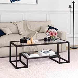 Henn&Hart Modern Geometric-Inspired Glass Coffee Table, Black