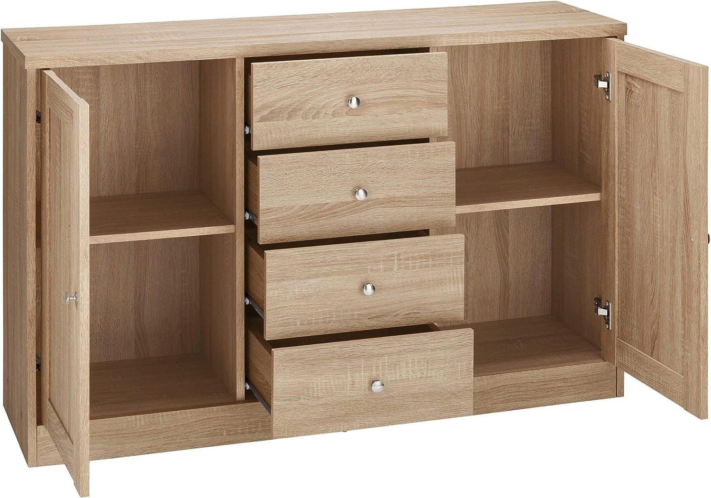 Loft24 A//S 2-Door Sideboard Standing Floor Cabinet Living Room Hallway 4 Drawers Oak Color 120 x 35 x 80 Centimeter