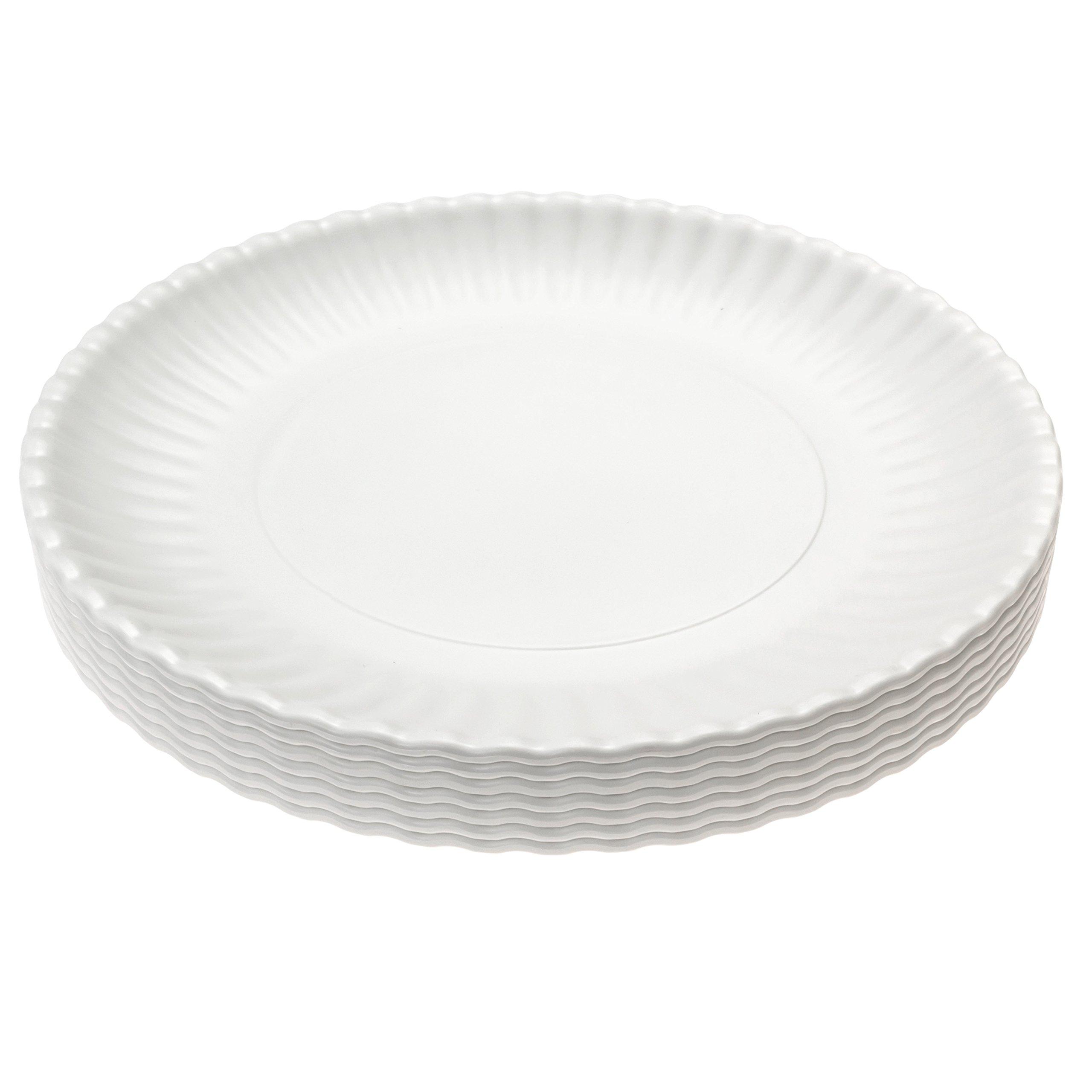 Picnique Reusable Paper Plate - Large 11'' Picnic & Dinner Melamine Plates, Dishwasher Safe, BPA Free - Set of 6 Plates