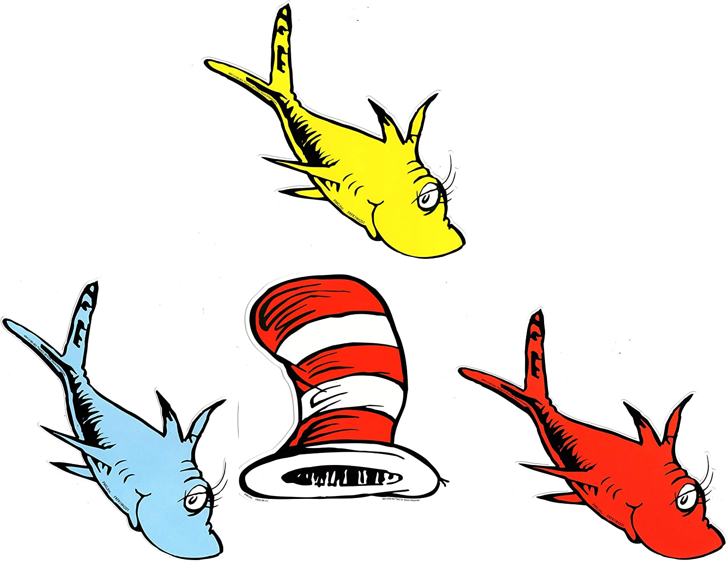 Eureka Back to School Dr Two Fish Paper Cut Out Classroom Decorations 72 pc Bundle Seuss Cat in The Hat and One Fish