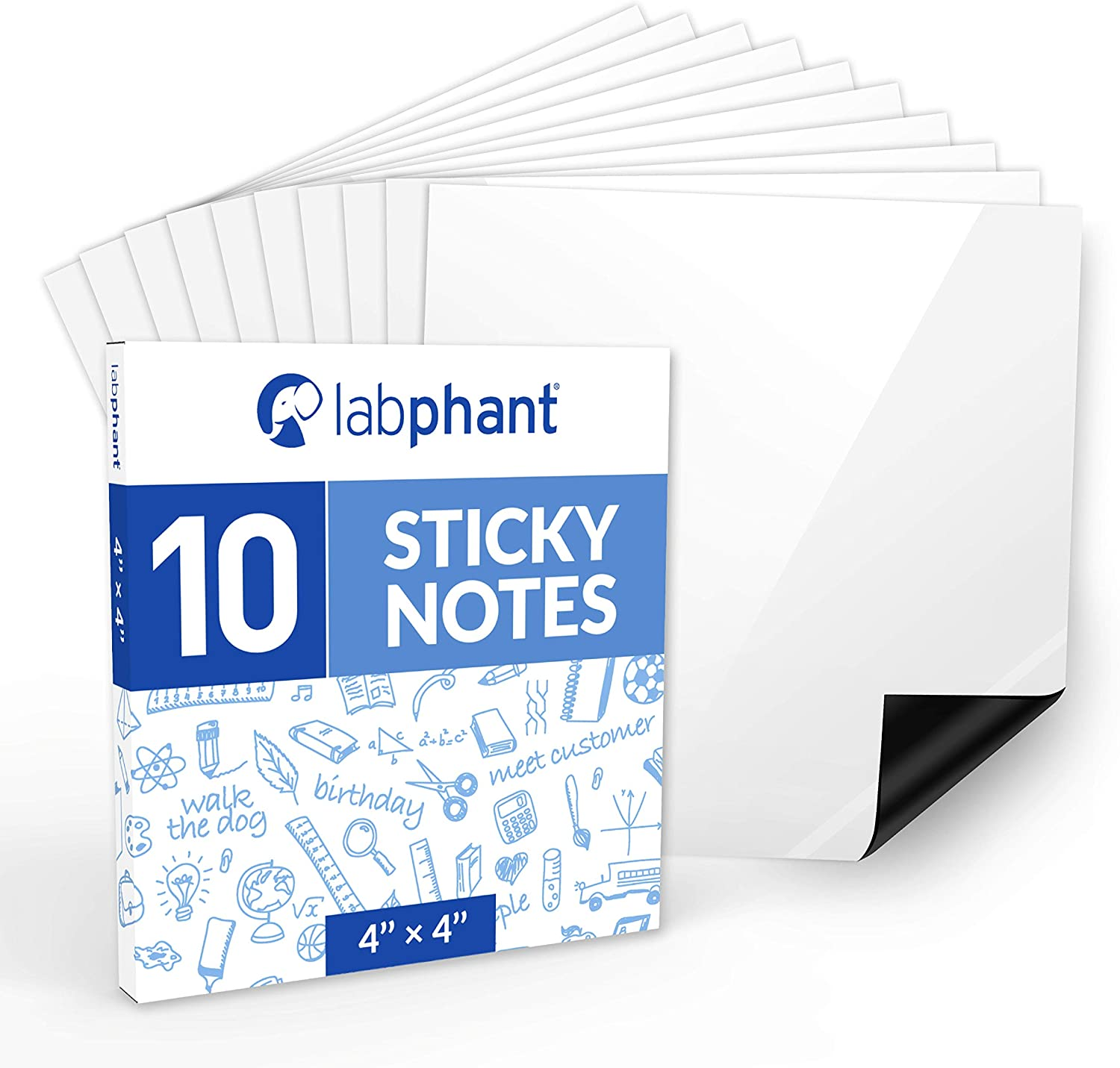 labphant Dry Erase Sticky Notes - 10 Pack of 4x4 Inch; Adhesive Free Reusable Whiteboard Stickers for Smooth Surfaces; No More Paper Post Notes - Reusable Home and Office Product (White, 4 x 4)