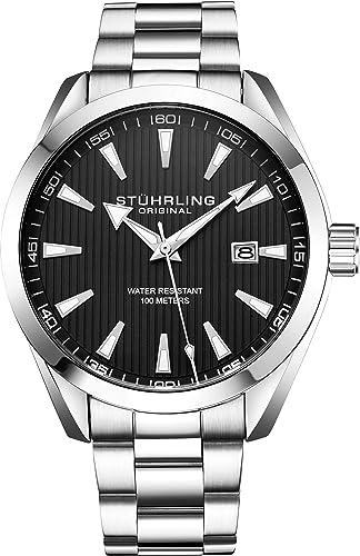 Stuhrling Original - Reloj analógico con Fecha, Correa de Piel de Becerro o Pulsera de Acero Inoxidable, colección 3953 Relojes para Hombre: Amazon.es: ...