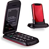 TTfone Star Big Button Simple Easy to Use Clamshell Flip SIM-Free Mobile Phone - Red