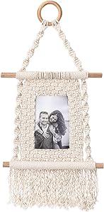 BohoCharm Hanging Photo Display Frame - Macrame Wall Hanging Picture Holder, Boho Chic Home Decor, Bohemian Wall Art Fits 4x6 Portrait Photos