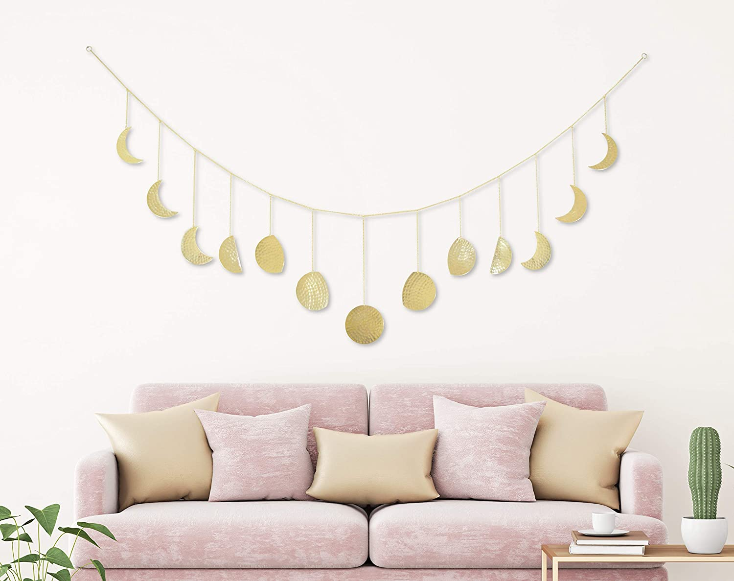 Gold Retr Moon Decor Moon Phase Garland Wall Hanging Wood Moon Boho Wall Decor Moon Decor Wall Art Apartment Dorm Office Nursery Living Room Bedroom Decorative