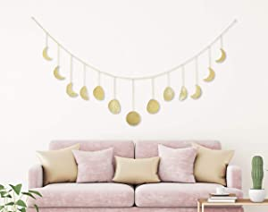 My Urban Crafts 70 Inch Moon Phase Wall Hanging Celestial Moon Cycle Banner Wall Art Moon Decor Boho Accents for Bohemian Room Headboard Apartment Dorm Nursery Living Room Bedroom (Gold Metal)