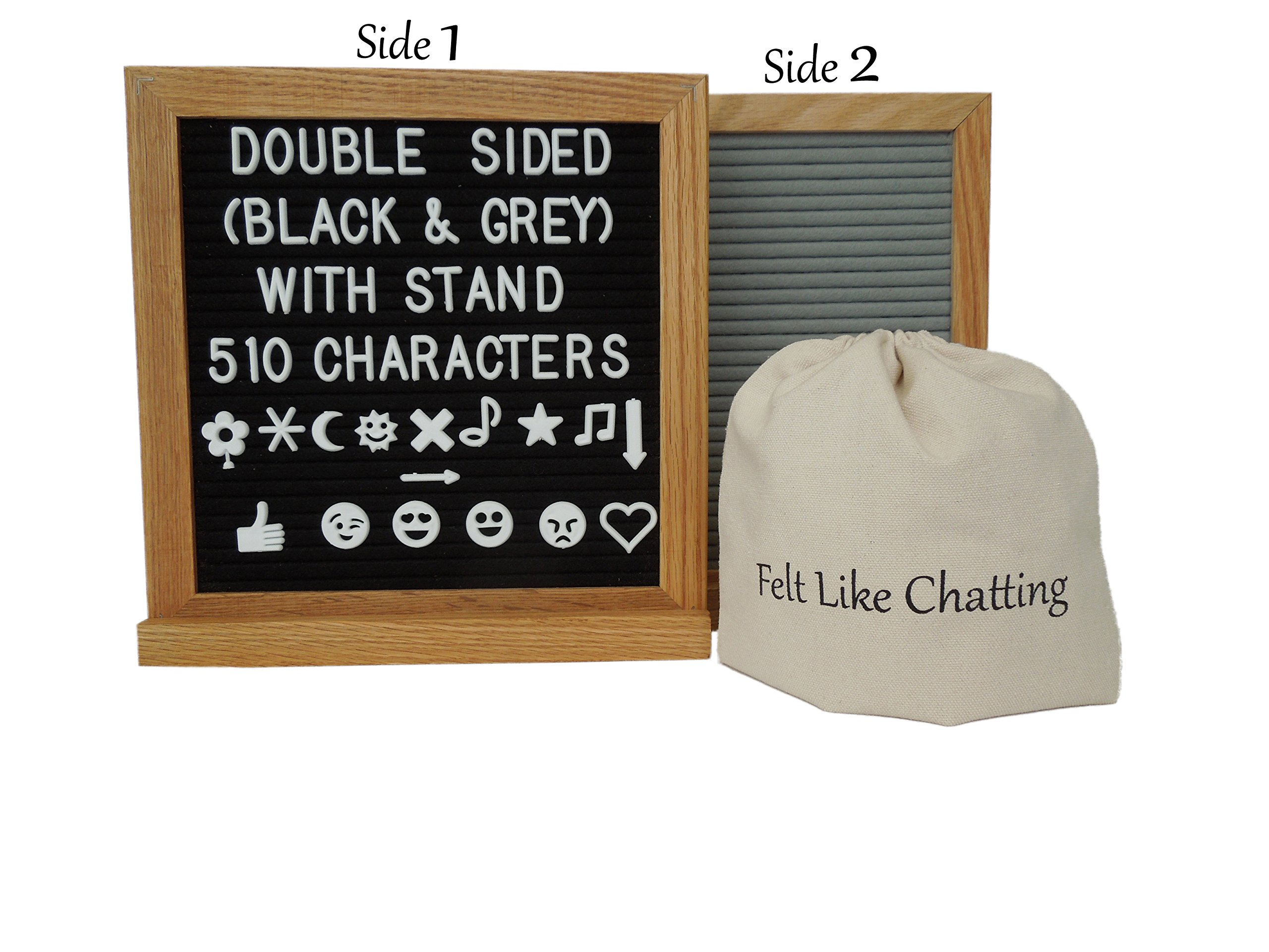 Felt Letter Board Double Sided Reversible Black & Grey Oak Letter Board 10''x10'' with Oak Stand and 510 Letters | Symbols | Emojis | Punctuation