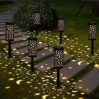 Lámparas Solares para Jardín Golwof 6 Piezas Luz Solar Exterior Jardin Luces Solares Jardin Exterior Decorativas Farolillos Solares Exterior Iluminación de Caminos para Camino Patio Césped Pasillo: Amazon.es: Iluminación