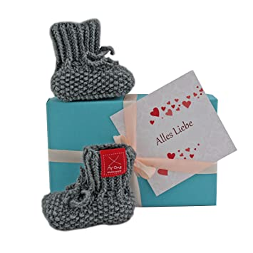 Baby Geschenk Baby Geschenkset Babyschuhchen Grau Gratis Karte