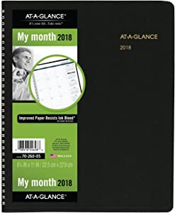 """AT-A-GLANCE Monthly Planner, January 2018 - March 2019, 8-7/8"""" x 11"""", Black (7026005)"""