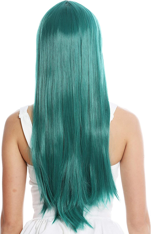 WIG ME UP- YZF-41062-BD peluca mujer cosplay pelo largo liso flequillo con raya verde turquesa oscuro