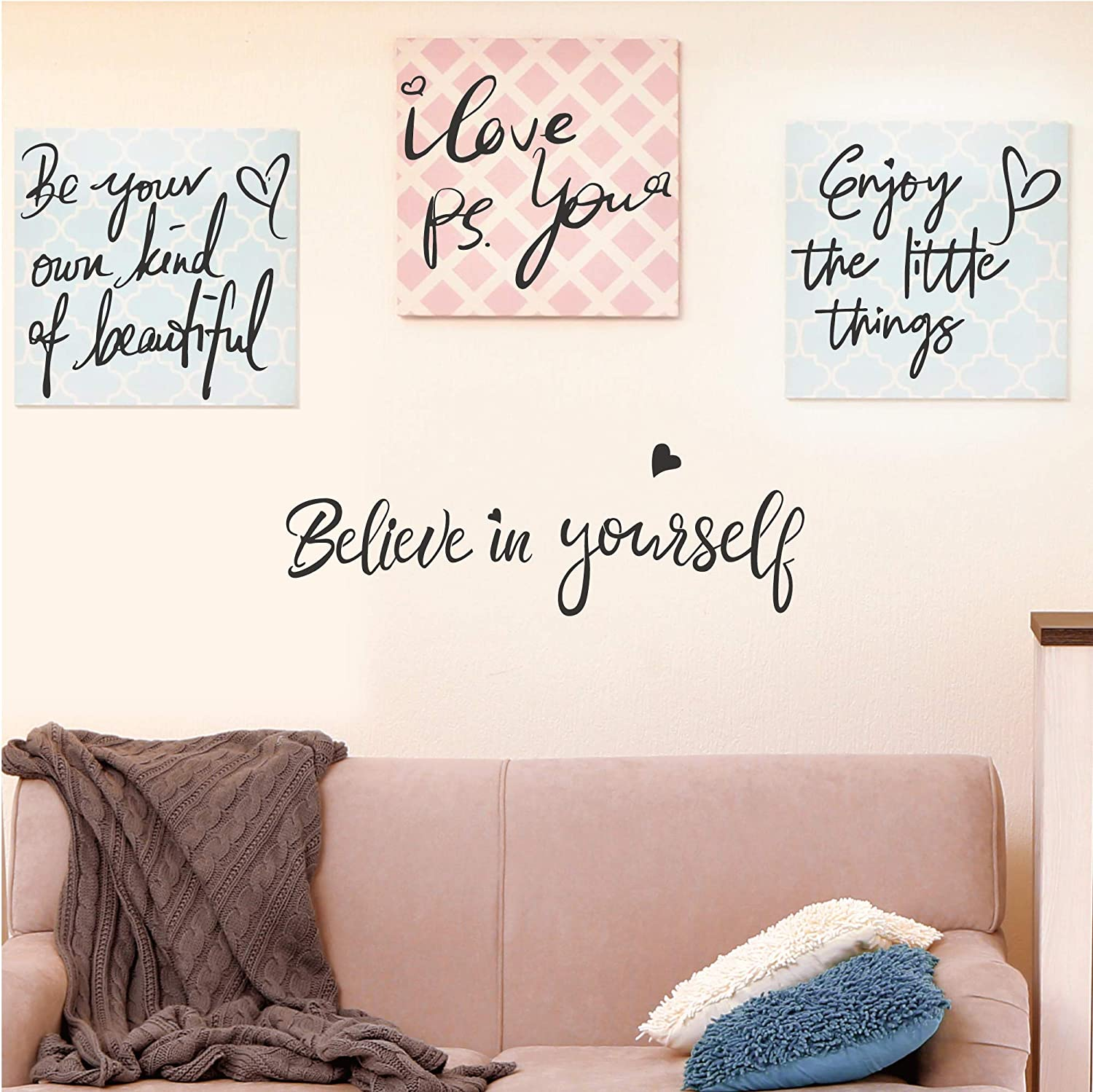 4 Set-Believe in Yourself-Be Your Own Kind of Beautiful-Enjoy the Little Things-PS. I Love You-Inspirational Quotes Wall Decals Vinyl Wall Stickers for Girls Women Bedroom Living Room Home Decor