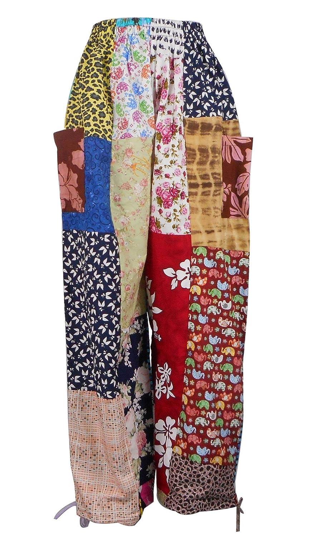 Phu Women' Boho Hippie Wide Leg Patchwork Pants (SN07-EL)