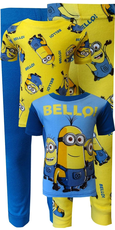 c69fd63a2e05 Amazon.com  Despicable Me 2 Minion Bello! 4 Piece Cotton Pajamas for Little  Boys (4)  Clothing
