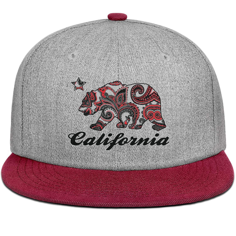 Men Womens Flat Hat California Bear Snapback Custom Cap