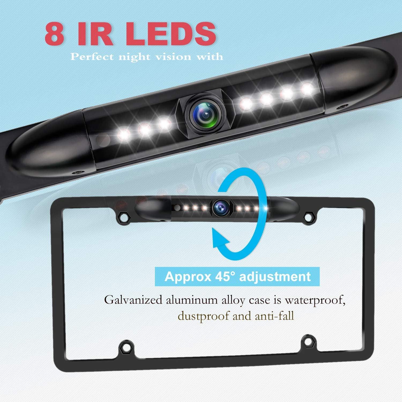 Rear View Camera 170/° Viewing Angle Universal Night Vision Waterproof High Sensitive 7 Bright LED Reversing Car Camera JPP License Plate Backup HD Camera